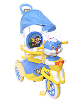 Fab N Funky Musical Baby Tricycle With Push Handle - Blue And Yellow
