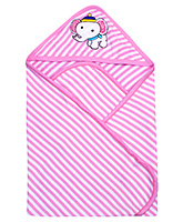 Pink Rabbit Hooded Stripe Bath Towel With Elephant Patch - Pink