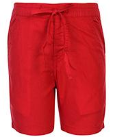 Babyhug Drawstring Bermuda - Red