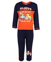 Cucumber Full Sleeves T-Shirt And Leggings - Navy Blue And Orange