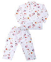 Babyhug Full Sleeves Nightsuit Printed - White And Red