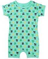 Babyhug Short Sleeve Romper Green - Bow Print