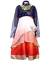 Babyhug Halter Neck Gown With Full Sleeve Short Length Shrug - Embroidery