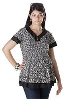 Morph Printed Maternity Top - Black