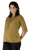 Morph Quarter Sleeves Plain Tan Maternity Top