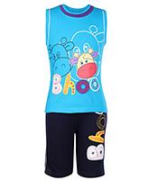 Babyhug Sleeveless T-Shirt And Shorts Set Printed - Blue