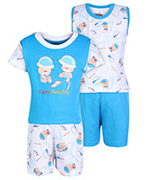 Babyhug 4 Piece Set - White And Sky Blue