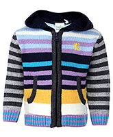 Babyhug Full Sleeve Hooded Sweater - Stripe Intarsia
