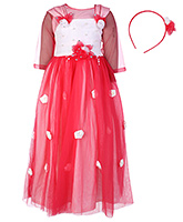 Babyhug Party Frock With Inner Top And Head Band - Floral Motif