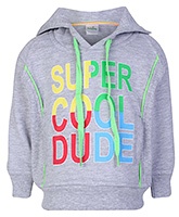 Babyhug Full Sleeve Hooded Sweatshirt - Super Cool Dude Print