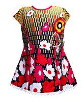 Babyhug Short Sleeves Frock - Floral Motif