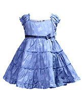 Babyhug Puff Sleeves Frock Light Blue - Bow Applique