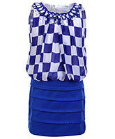 Babyhug Sleeveless Party Dress - Checks Pattern With Diamond Detailing