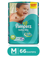 Pampers Baby Dry Diaper Medium - 66 Pieces