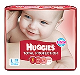 Huggies Total Protection Diapers Large - 17 Pieces