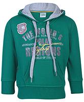 Babyhug Full Sleeve Hooded Sweatshirt - Green