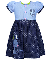 Babyhug Puff Sleeve Frock - Dots And Bunny Print