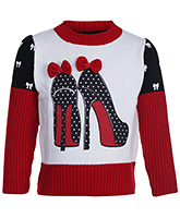 Babyhug Full Sleeve Sweater - Shoes Print With Bow Applique