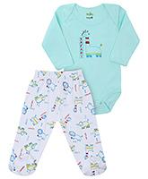 Babyhug Full Sleeves Onesies And Legging Set - Safari Print