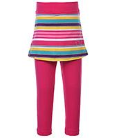 Babyhug Leggings With Short Skirt Dark Pink - Stripes