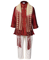 Babyhug Kurta And Pajama With Dupatta - Sequins Detailing