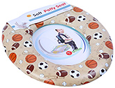 Fab N Funky Soft Baby Potty Seat Sport Ball Print - Brown And Green