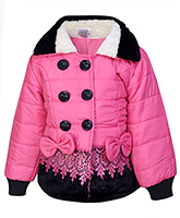 Babyhug Full Sleeve Quilted Jacket - Bow Applique