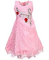 Babyhug Sleeveless Tiered Dress - Rose Patch And Diamond Work
