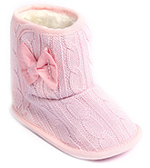 Cute Walk Baby Booties Slip On - Bow Applique