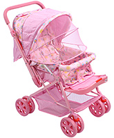 Fab N Funky Baby Stroller Pink - Floral And Heart Print