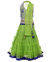 Babyhug Halter Neck Choli And Lehenga With Dupatta Green - Diamond Work