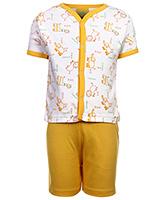 Babyhug Front Open T-Shirt And Shorts Set - Animal Print