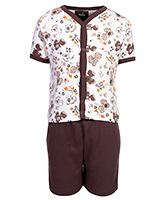 Babyhug Front Open T-Shirt And Shorts Set - Dinosaur Print