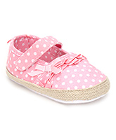 Cute Walk Baby Booties Velcro Closure - Polka Dots Print