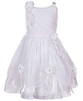 Babyhug Singlet Frock White - Rose Applique