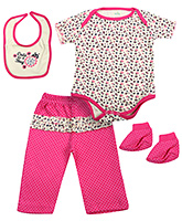 Babyhug Multi Piece Set Pink And Yellow - Set of 4