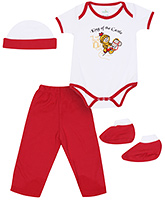 Babyhug Multi Piece Set Red And White - Set of 4