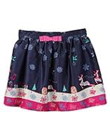 Beebay Reindeer Printed Skirt - Navy