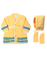 Babyhug Front Open Winter Wear Set Yellow - Pack Of 3