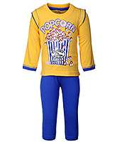 Babyhug Full Sleeves T-Shirt And Leggings - Popcorn Print