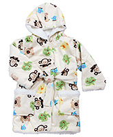Babyhug Baby Hooded Bath Robe Multicolor - Animal Printed