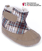 Cute Walk Baby Booties Check Print - Ankle Length