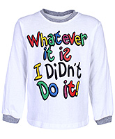 Babyhug Full Sleeves White Printed T-Shirt - Contrast Neck