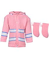 Babyhug Hooded Sweater And Booties Set - Self Pattern