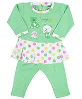 Babyhug Full Sleeves Frock And Legging Set - Teddy Bear Print