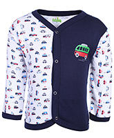 Babyhug Front Open Vest Full Sleeves - Vehicles Print