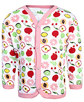 Babyhug Front Open Vest Full Sleeves - Fruits Print