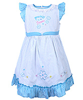 Babyhug Flutter Sleeves Frock - Pretty Dreams Embroidery