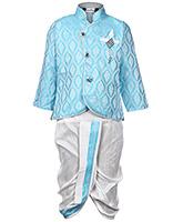 Babyhug Indo Western Dhoti Kurta Suit Sky Blue - Diamond Brooch