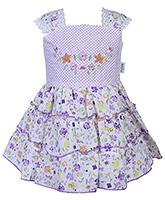 Babyhug Sleeveless Frock Purple - Floral Print